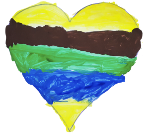 Heart Painting - artwork by young people at Acorns domestic abuse support services in North Shields