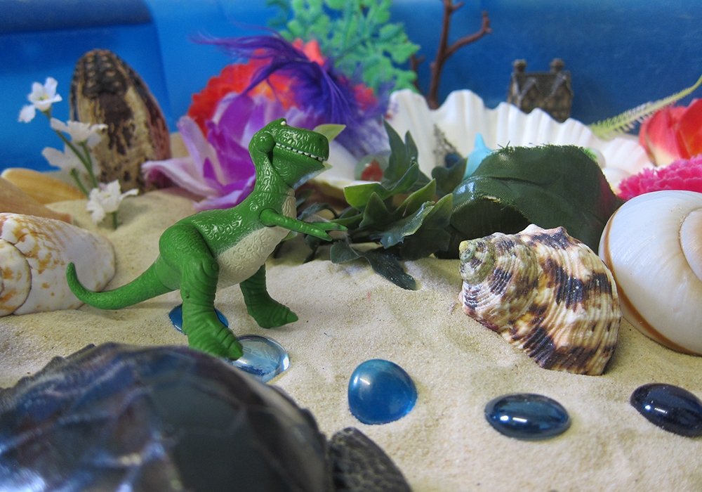 Sand tray activity in our play therapy rooms